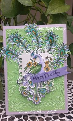 Birthday Card designed by Diane Shull using Heartfelt Creations Peacock Medley Collection.