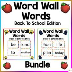 Word Wall Words Back To School ThemeThese word wall word cards back to school theme in this 400-page packet will add a fun and bright focus in your classroom during the fall season. The download contains the first 400 words from Fry's high-frequency list.Check out our other Word Wall Words. Click be...