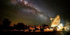 Image: 2013 Astronomy Photographer of the Year - Receiving the Galatic Beam (© Wayne England) captures the moment when the Milky Way appears to line up with the giant dish of the radio telescope at Parkes Observatory in Australia. Cosmos, Radios, Les Aliens, Alien Worlds, Out Of This World, Milky Way, Outer Space, Belle Photo, Night Skies