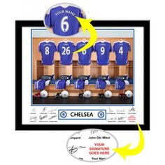 Chelsea Personalised Dressing Room    The photo was taken in the actual Chelsea dressing room. Your selected surname will be merged onto the centre shirt to exactly match your team mates. Your selected forename and surname are then printed alongside the player's autographs which appear underneath the photo leaving a space for the recipient to add their own signature alongside those of Terry, Lampard, Torres and the other players. Presented in a sylish contemporary frame (including mount). Chelsea Fans, Soccer Gifts, Sports Gifts, Contemporary Frames, Picture Gifts, Soccer Fans, Gifts For Boys, Football, American Football