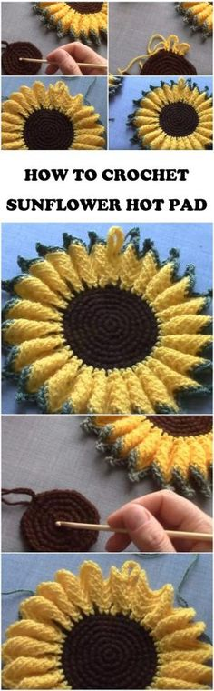 Crochet Sunflower Hot Pad Step By Step by toni