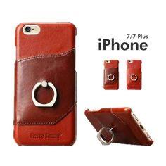1f5228e6d6 iPhone7ケース リング付き 落下防止 牛革iPhone7 Plusケース 本革iPhone7ケース 落下防止