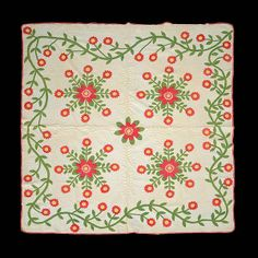 Rose of Sharon Quilt, 76 x 85 in. : Lot 718, Michaan's Auctions, Live Auctioneers