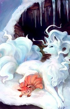 VULPIX WITH NINETALES ALOLA FORM.