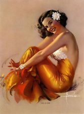 ROLF ARMSTRONG 40s PIN-UP PRINT BROWN & BIGELOW MINT GLAMOUR GIRL COME ON OVER