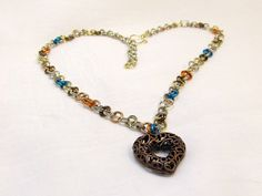 Bronze Heart with Mixed Metal Chain Necklace - Adjustable Handmade Chain and Clasp for Your Valentine