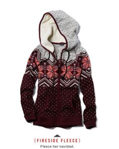 Women's Fireside Fleece from American Eagle: Maroon, Pink, Gray patterned hoodie fleece