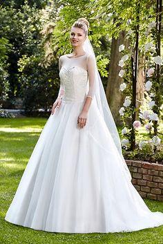 Sleeveless Illusion Neck Beading Ball Gown Organza Wedding Dress