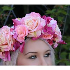 large silk rose and orchid flower crown ❤ liked on Polyvore featuring accessories, hair accessories, flower hair accessories, floral crowns, floral garland, rose flower crown and flower garland
