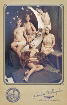 LOVE this. Amazing vintage paper-moon inspired set for a modern burlesque troop photo shoot.