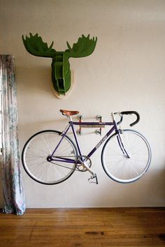 i need a bike rack for when we get our own place ... this would be perfect... also i love the green moose head <3