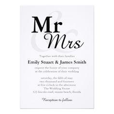 Simple Wedding Invitations Mr &Mrs Simple Elegant Typography Wedding Card