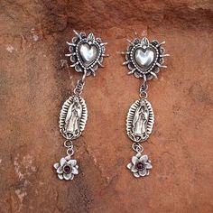 E156 Santa Rosa Sacred Heart Large Guadalupe and Desert Flower with Garnet Sterling Silver Earrings E137 on Etsy, $313.00