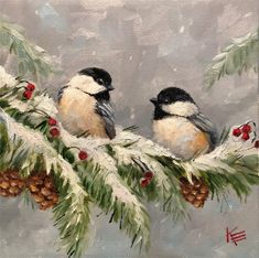 The Krista Eaton Gallery - Krista Eaton Gallery of Original Fine Art - Winter Painting, Winter Art, Bird Pictures, Pictures To Paint, Art Mignon, Christmas Bird, Xmas, Simple Acrylic Paintings, Beginner Painting