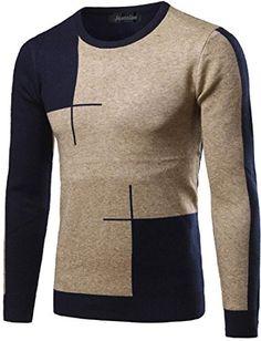 jeansian Men's Fashion Hit Color Stitching Knitting Sweat... https://www. Crew  Neck SweatersMen ...