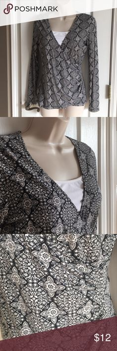 Loft Size S Long sleeves, faux wrap, EUC from a non-smoking home. LOFT Tops