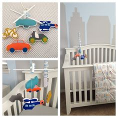 "How fun is this ""Things That Go"" nursery mobile from Gifts Define? Perfect in a mod baby boy nursery!"