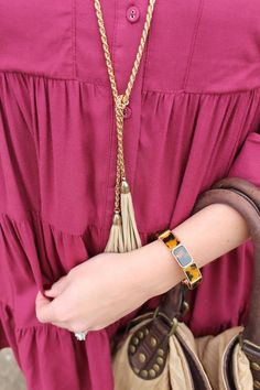 J.Crew tortoise bracelet and wine dress via With Style and a Little Grace