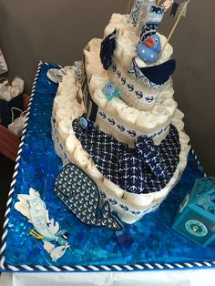 Diy Nautical Theme Baby Shower Diaper Cakes Ship Boat