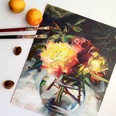 "Наталья Деревянко (@derevyanko_art) on Instagram: ""Rose still life. Oil sketch on panel."