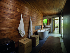 In this modern house, a walk-in dressing room is located between the master bedroom and the bathroom, while a door off the bathroom leads to a small private terrace. Bathroom Layout, Bathroom Interior Design, Modern Bathroom, Wood Bathroom, Modern House Design, Modern Interior Design, Mid Century Bathroom, Villa, Mid Century Modern Lighting