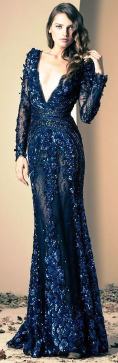 Lebanese fashion designer Ziad Nakad unveiled his new Haute Couture fall/winter 2013 collection of gorgeous evening dresses and gowns. Lace Dresses, Elegant Dresses, Pretty Dresses, Prom Dresses, Short Dresses, Dress Prom, Navy Blue Wedding Dresses, Awesome Dresses, Couture Dresses
