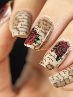 Stained Love Letter Nail Stamping
