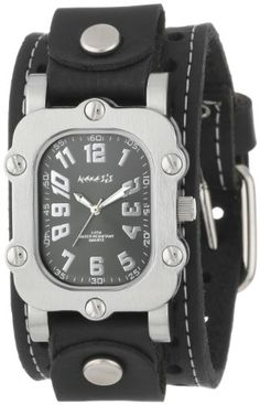 Men's Wrist Watches - Nemesis Mens STH007K Signature Stainless Steel Watch With Leather Cuff >>> Find out more about the great product at the image link. (This is an Amazon affiliate link)
