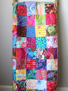 This modern lap quilt is completed and ready to ship to you! It is made using 100 different Kaffe Fassett fabrics. It is bold, colorful, and truly Boy Quilts, Girls Quilts, Neutral Quilt, Cotton Anniversary Gifts, Homemade Quilts, Red Peonies, Colorful Quilts, Rag Rugs, Scrappy Quilts