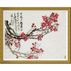 """Global Gallery 'Plum Blossoms' by Wu Changshuo Framed Wall Art Size: 36.64"""" H x 46"""" W x 1.5"""" D"""