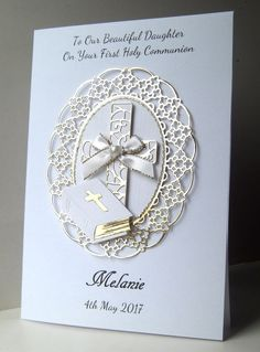 This is for 1st Holy Communion/Confirmation. A4 folded in half = A5 300gsm white linen textured card. On Your First Holy Communion (can be changed). Front top Reads. The card has a mirror gold fanct frame, layered with white. | eBay!