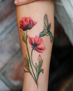 flowers poppy and hummingbird tattoo