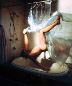 Selfportrait - falling in the Shower by Kerry Skarbakka