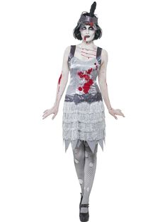 Zombie-Flapper-Ladies-Halloween-1920s-Womens-Fancy-Dress-Horror-Outfit-UK-8-18