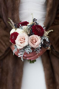 Bridesmaid Bouquet: little posy with pale pink roses, burgundy dahlias, privet berries & dusty miller. Winter Bridal Bouquets, Small Wedding Bouquets, Red Bouquet Wedding, Winter Bouquet, Winter Wedding Flowers, Bride Bouquets, Floral Wedding, Fall Wedding, Bridesmaid Bouquets
