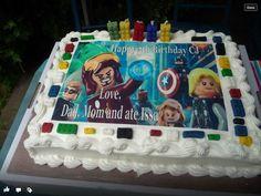 Costco cake - avengers Lego Happy 5th Birthday, Birthday Cake, Costco Cake, Avengers, Lego, Party Ideas, Cakes, Desserts, Kids