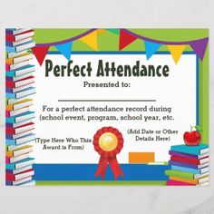 Shop Attendance Award Certificate Customizable created by cutencomfy. Certificate Of Recognition Template, Certificate Templates, Certificate Design, Certificate Programs, Kids Awards, Student Awards, Perfect Attendance Certificate, Attendance Chart, School Teacher Student
