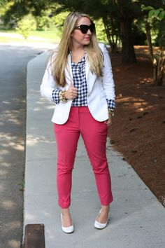 White Blazer + Pink Trousers + Navy Gingham