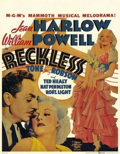 Reckless Movie POSTER 11 X 17 Jean Harlow William Powell Franchot Tone, B