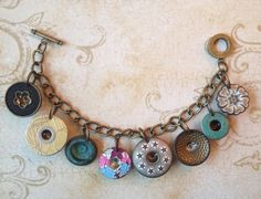 Antique Vintage Buttons Industrial Chic Charms by MyTrendyTrinkets