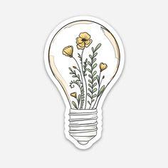 Flowers in Lightbulb Laptop Sticker Stickers Cool, Preppy Stickers, Cute Laptop Stickers, Bubble Stickers, Printable Stickers, Kawaii Stickers, Journal Stickers, Planner Stickers, Notebook Stickers