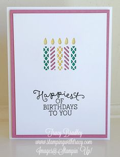 Easy-to-make card by Tracy Bradley using Stampin' Up! Window Box Thinlits Dies and Birthday Blooms stamp set.  www.stampingwithtracy.com