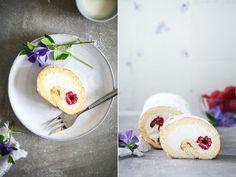 Rezept für Biskuitrolle mit Himbeeren und Quarkfuellung – ein einfacher Kuchenklassiker