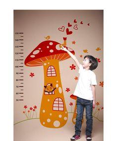 Mushroom Height Chart wall Sticker