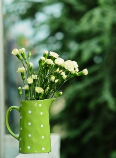 Yellow carnations in a fabulous green polka dot pitcher.