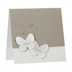 """Hochzeitseinladung """"Bea"""" - Verspielte aber dezente Einladungskarte zur Hochzeit mit Schmetterlingen in gedeckten Farben"""