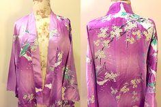 Vintage 1980s Japanese Kimono Robe Pink Robe Floral Print
