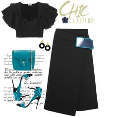 Fashion set Blue and Black created via Hot Outfits, Classy Outfits, Fashion Outfits, Professional Wear, Elegant Outfit, Types Of Fashion Styles, Passion For Fashion, Dress To Impress, Korean Fashion