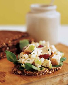 Chicken Salad Sandwich | Martha Stewart Living - Diced fennel bulb, Granny Smith apple, celery, and red grapes add a wonderfully fresh, sweet crunch to chicken salad sandwiches. Dress the mixture in a light yogurt dressing and pile on slices of pumpernickel bread topped with watercress.
