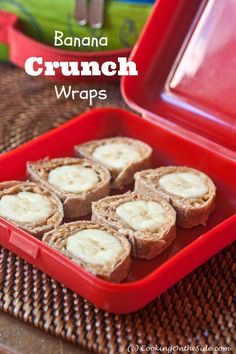 Banana crunch wraps for back-to-school lunch (Bentobox). School Lunch Recipes, Lunch Snacks, Dinner Recipes For Kids, Kids Meals, Healthy Snacks, Snack Recipes, School Lunches, Lunch Meals, Fruit Snacks